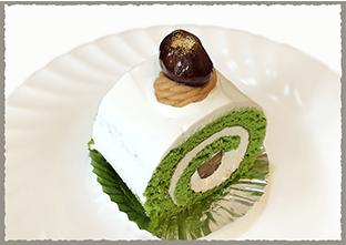 抹茶栗のロールケーキ